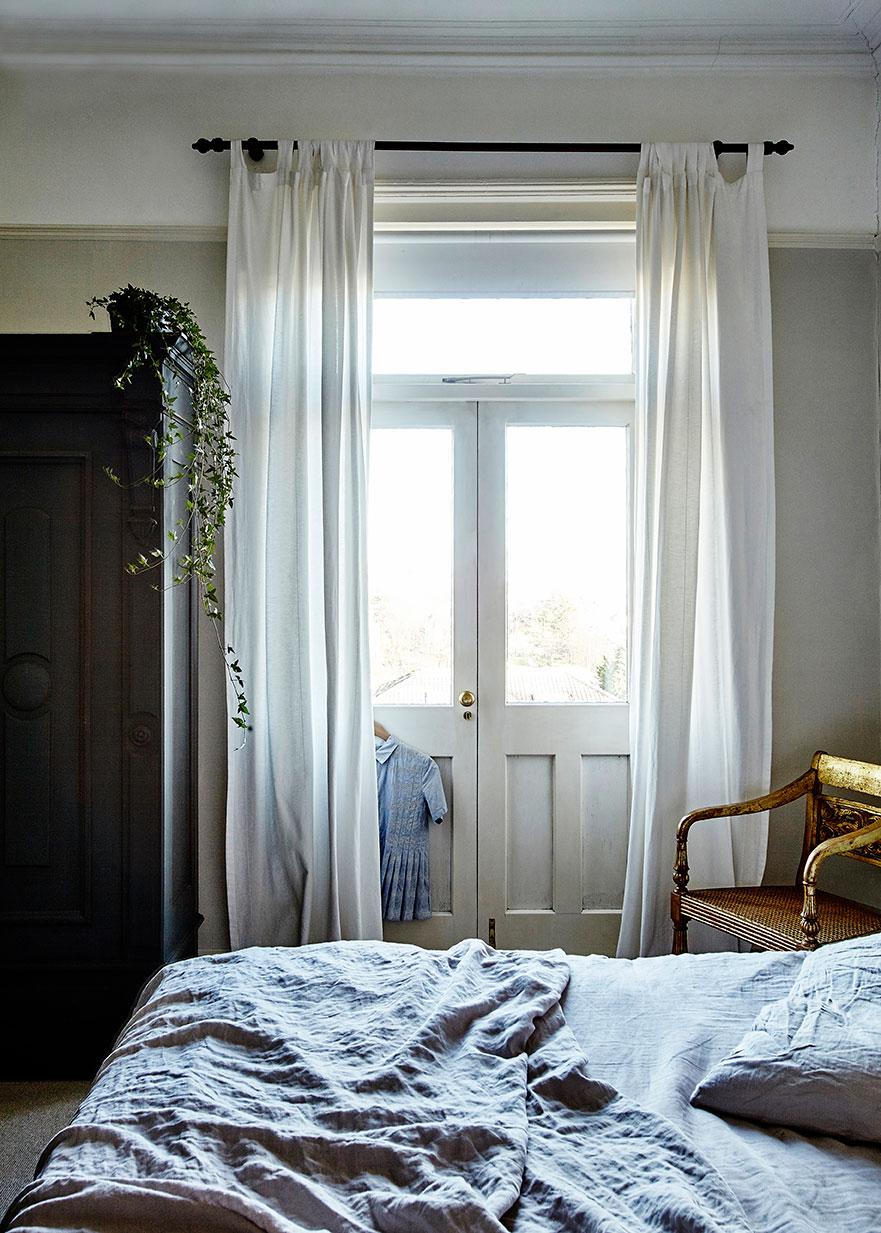 A light airy bedroom design in a Bristol Period Property